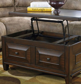 Wood and metal lift-top coffee table in brown color