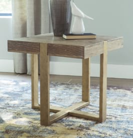 Wood end table in light brown color