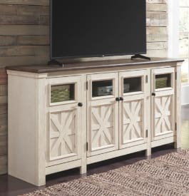 Wood TV stand in white color