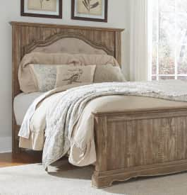 Wood panel bed in light brown color