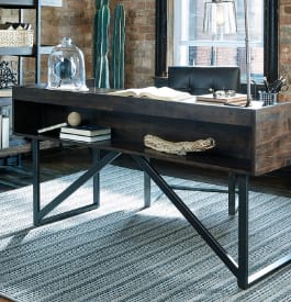 Wood and metal home office desk in brown color