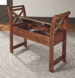 Wood entryway bench in brown color