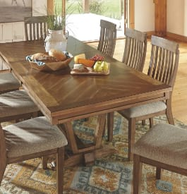 Wood dining room set in brown color