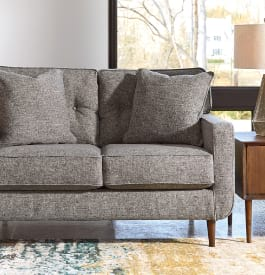 Fabric living room loveseat in charcoal gray color