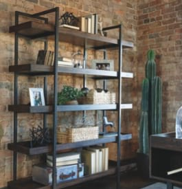 Wood and metal home office bookcase in brown color