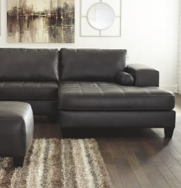 Vinyl living room sectional sofa in black color