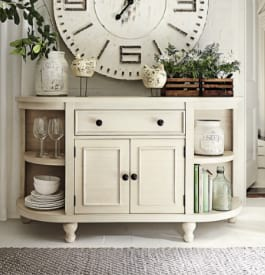 Wood dining room cabinet in white color